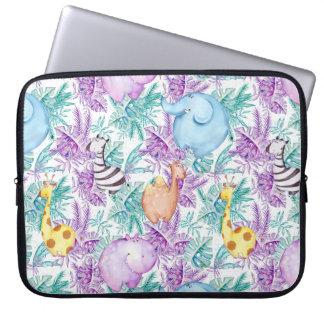 Safari-Tier-Flusspferd-Giraffezebra-Elefant-Hülse Laptopschutzhülle