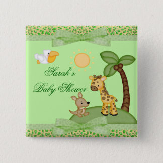 Safari-Tier-Gepard-Druck-Babyparty Quadratischer Button 5,1 Cm