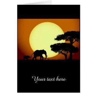 Safarielefanten am Sonnenuntergang Karte