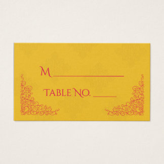 Safran-rosa Pfau-indische Hochzeits-Platzkarten Visitenkarte