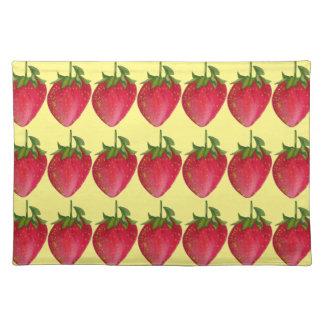 Saftige Erdbeerfrucht-Wasserfarbemakrokunst Stofftischset