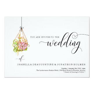 Saftige hängende Terrarium-Hochzeits-Einladung Karte