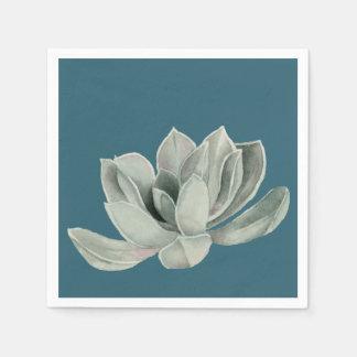 Saftige Pflanzewatercolor-Malerei Papierserviette
