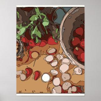 Saftige Rettiche und gegrillte Kartoffel Plakatdrucke