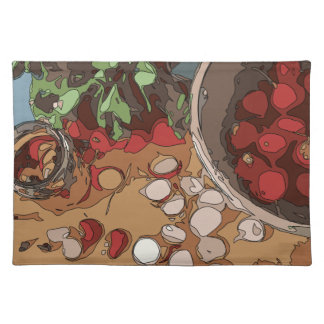 Saftige Rettiche und gegrillte Kartoffel Tischsets