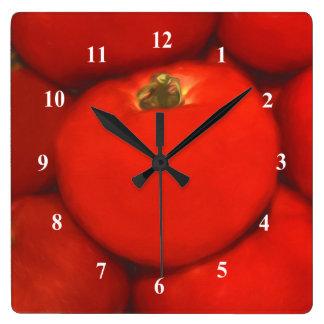 Saftige rote Homegrown Garten-Tomaten Quadratische Wanduhr