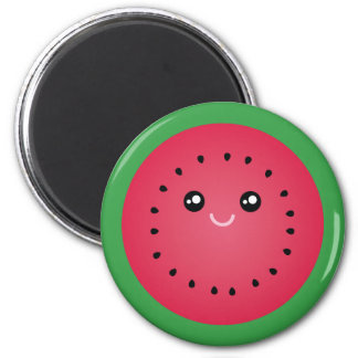 Saftige Wassermelone-Scheibe niedliche Kawaii Runder Magnet 5,1 Cm
