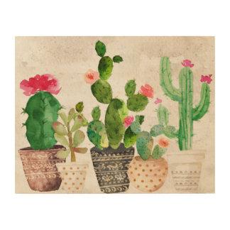 Saftiger Kaktus-hölzerne Wand-Kunst Holzwanddeko