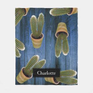 Saftiger Kaktus in den Töpfen und in den blauen Fleecedecke