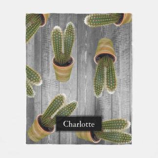 Saftiger Kaktus in den Töpfen und in den grauen Fleecedecke