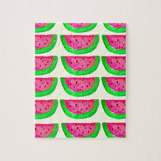 Saftiges rosa Wassermelonefruchtmuster auf Zitrone Puzzle