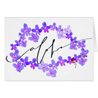 """Say """"Aloha"""" with the Orchid Lei Blank Note Card"""