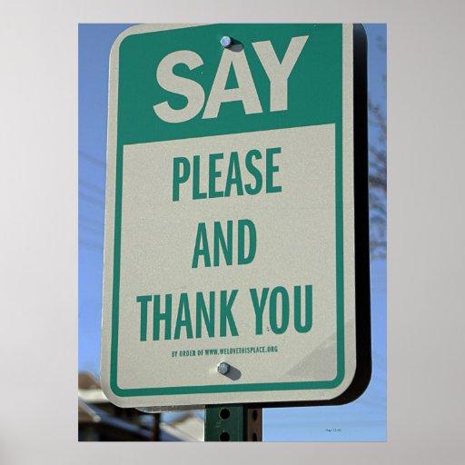 Sagen Sie bitte und danke Plakatdrucke