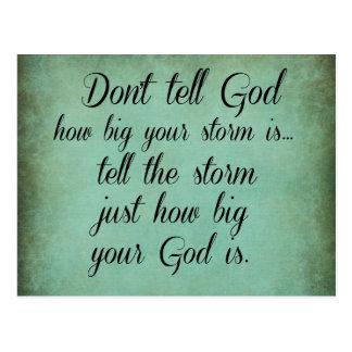 Sagen Sie Gott, wie nicht groß Ihr Sturm Zitat ist Postkarte