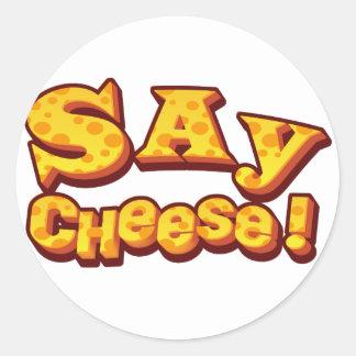 sagen Sie Käse! Runder Aufkleber