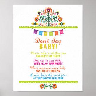 Sagen Sie nicht Babyparty-Spiel-Plakat-Fiesta Poster