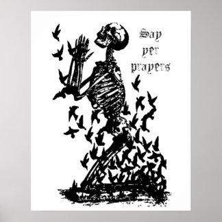 Sagen Sie Skeleton Amsel-Spaß des Poster