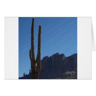 Saguaro gegen blauen Himmel und Hügel Karte