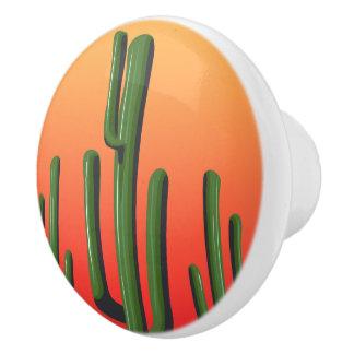 Saguaro-Kaktus-Wüsten-Sonnenuntergang-Türknauf Keramikknauf