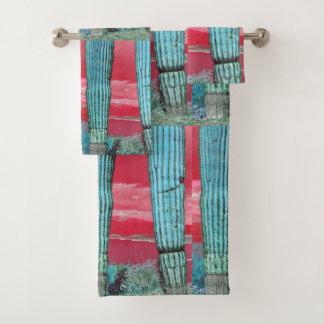 Saguaro-Säule - rotes Himmel-u. Türkis-Tuch-Set Badhandtuch Set