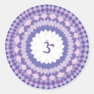 Sahasrara chakra mandala runder aufkleber