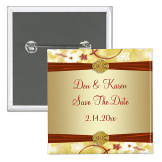Sahnegold u. rotes Blumen Save the Date Quadratischer Button 5,1 Cm