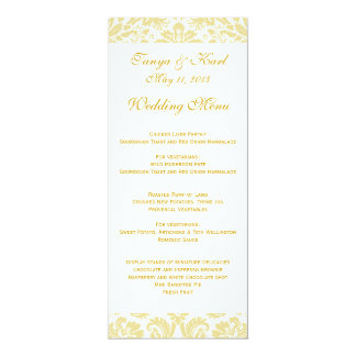 Sahnegoldblumendamast-Hochzeits-Menü 10,2 X 23,5 Cm Einladungskarte