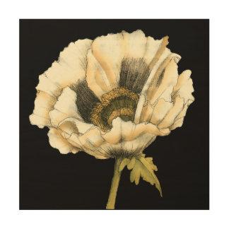 Sahnemohnblumen-Blume auf schwarzem Hintergrund Holzdruck