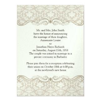 Sahnetan-Damast-Wirbels-Posten-Hochzeit 14 X 19,5 Cm Einladungskarte