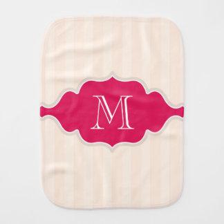 Sahnige beige Streifen rosa und weißes Monogramm Spucktuch