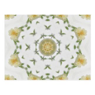 Sahnige gelbe Rosen-Kaleidoskop-Kunst 4 Postkarte