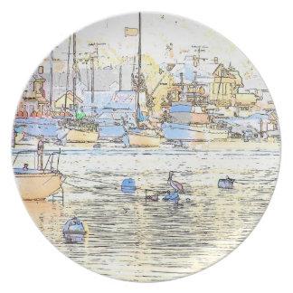 Sailbotas Pelikan-Vogel-Tier-Boots-Segeln-Meer Melaminteller