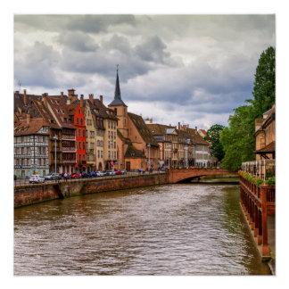 Saint Nicolasdock in Straßburg, Frankreich Poster