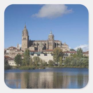 Salamanca-Kathedralen und Stadt 2 Quadratischer Aufkleber