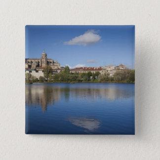 Salamancakathedralen und -stadt quadratischer button 5,1 cm