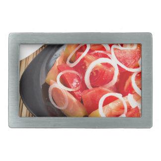 Salat der roten und gelben Tomate Rechteckige Gürtelschnalle