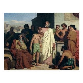 Salben von David durch Saul, 1842 Postkarte