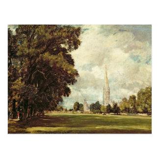 Salisbury-Kathedrale vom unteren Sumpf nah, 1820 Postkarte