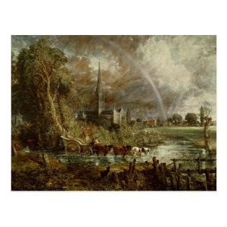 Salisbury-Kathedrale von den Wiesen, 1831 Postkarte