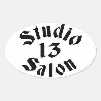 Salon-Aufkleber des Studio-13 oval Ovaler Aufkleber
