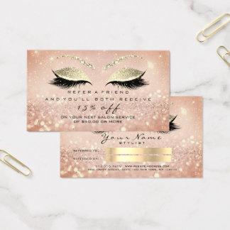 Salon-Empfehlungs-Karten-dünne GoldRosen-Peitschen Visitenkarte