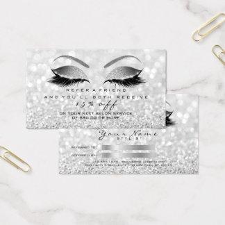 Salon-Empfehlungs-Karten-Glitzer-silbernes Visitenkarte