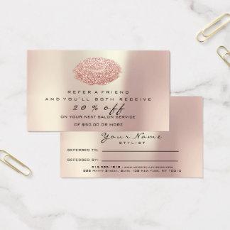 Salon-Empfehlungs-Karten-Make-upRosen-Gold erröten Visitenkarte