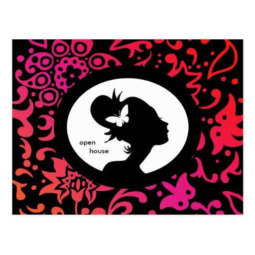 Salon-Karten-Schmetterlings-Frauen-bunte Silhouett Postkarten