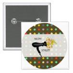 Salon-Retro Stylist Quadratischer Button 5,1 Cm