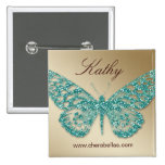 Salon-Schmetterlings-Namen-Umbau-Knopf-aquamarines Buttons