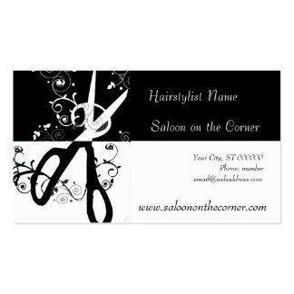 Salon-Schwarzweiss-Scheren Visitenkartenvorlage