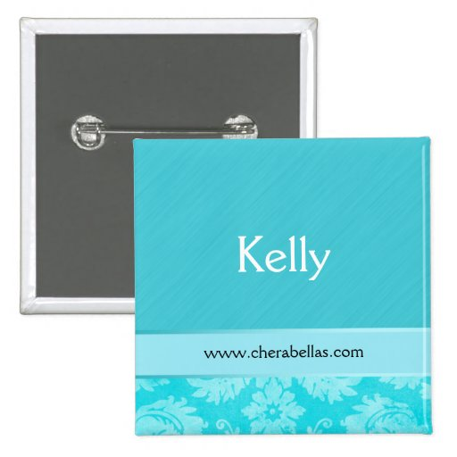 Salon Spa Name Tag Button Brooch damask blue
