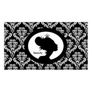 Salon-Verabredungs-Karten-Kronen-Frauen-Silhouette Visitenkartenvorlage