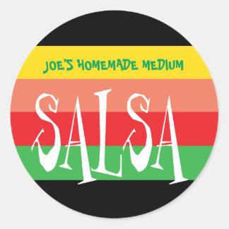 Salsaglas mit bunten Streifen des Spaßes Runder Aufkleber